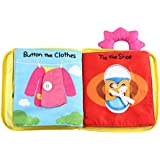Flameer Ultra Soft Baby Cloth Book 3D Quiet Activity Books for Toddlers Early Educational Development Toys,Learning to Sensory