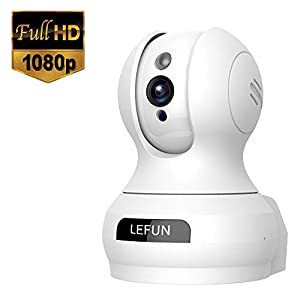 Lefun ネットワークカメラ1080P 200万画素 ベビーモニター IP監視防犯カメラ 高解像度 無線ワイヤレスカメラ 【wifi 強化 遠隔操作 動体検知 警報通知 双方向音声 暗視機能 録画可能 技適認証済み ホワイト