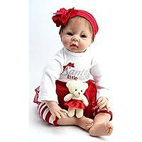 oumeinuo新生児人形Rebornベビー人形ソフトSiliconeビニールガールおもちゃ22 in。55 cm赤サンタドレス