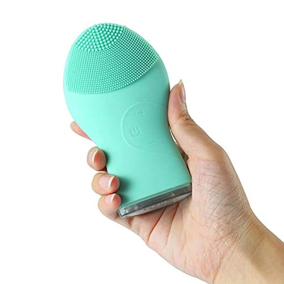 補助勢いモールブラックヘッド、ディープクレンジングスキンケアのUSB充電式を削除防水洗顔ブラシ、フェイススクラブマッサージ、ウォッシュアーティファクトのためにウォッシュアーティファクトポアクリーナーエクスフォリエイティングを、振動洗顔ブラシ、シリコン (Color : 緑)
