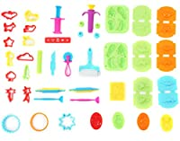 Ludos Clay Dough Play Tools & Dinosaur Set- 37 Pcs Moulds Kit Party Pack Includes Animals, Cutters, Food & Fruit Moulds, Extruders, Rolling Pins and Assorted Shapes for Toddlers, Kids, Girls & Boys
