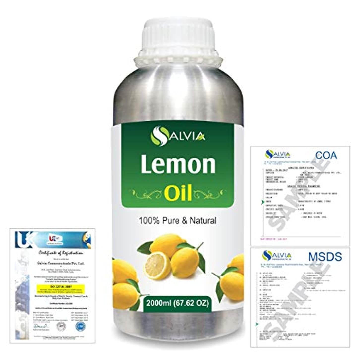 振りかける好奇心盛蘇生するLemon (Citrus limonum) 100% Natural Pure Essential Oil 2000ml/67 fl.oz.