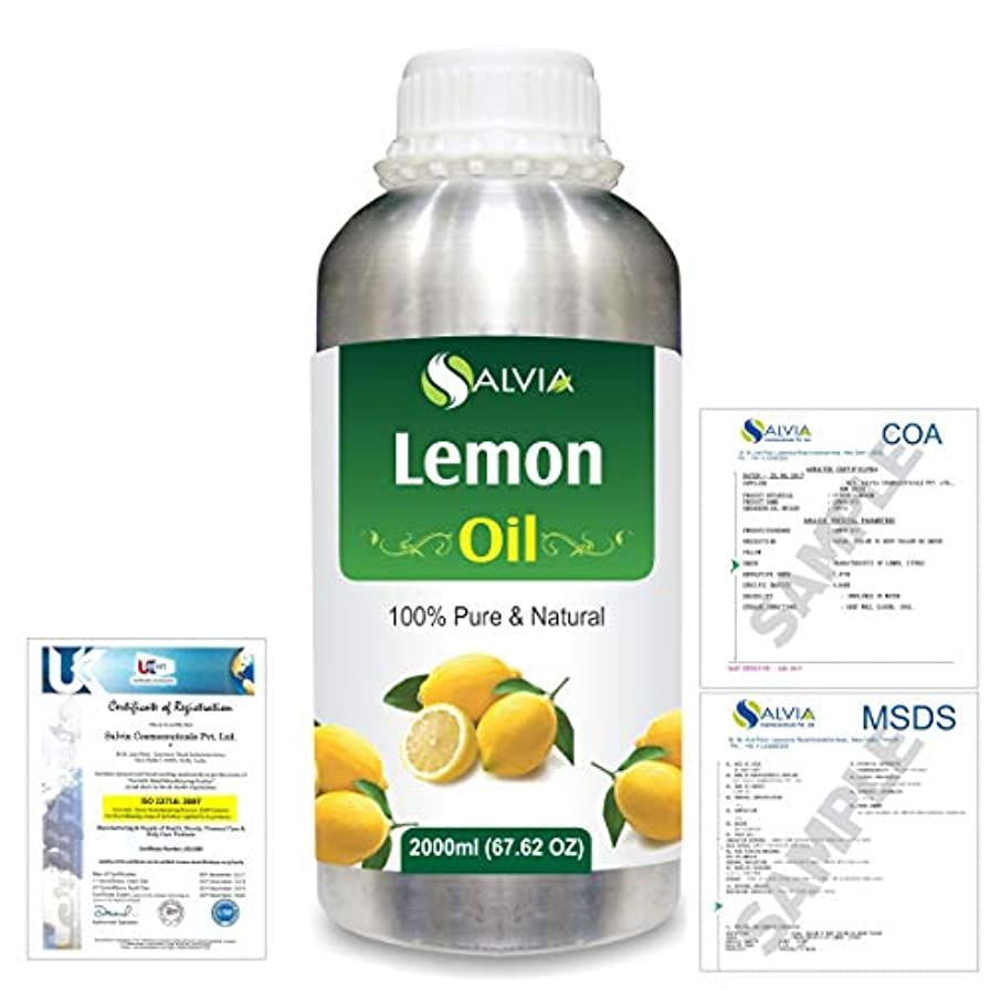 抹消代表する元気Lemon (Citrus limonum) 100% Natural Pure Essential Oil 2000ml/67 fl.oz.
