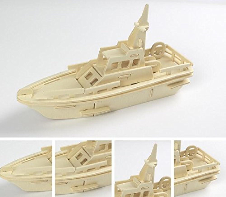 HuaQingPiJu-JP 創造的な木製の3Dパズルアーリーラーニングの形状透明なツール子供のためのおもちゃのファンタスティックギフト(クルーザー)