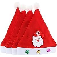 GEMVIE サンタクロース 帽子 可愛い キッズハット 子供用 クリスマス帽子 サンタ 帽子 コスプレ 仮装 キャップ 男女兼用 クリスマス イベント 4点セット サンタ
