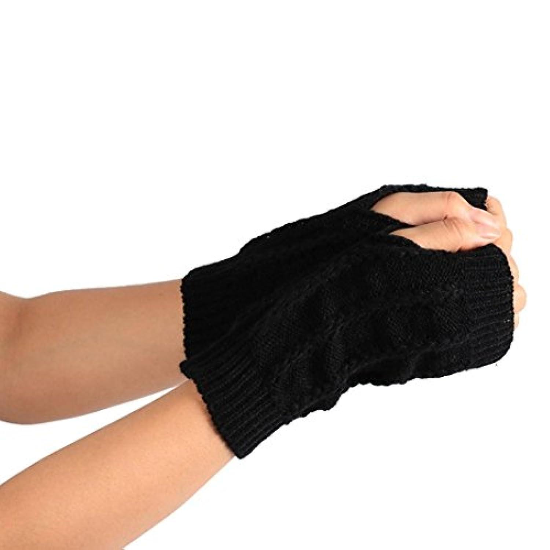 pulison ( TM )ファッション冬ニットロングアームスリーブ親指穴指なし暖かいソフトhalf-finger手袋ミトン手首腕Hand Warmerメンズレディースガールズ
