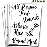 106 Pantry Labels Stickers by 7 Ruby Road for Kitchen Organization and Storage. Clear Water Resistant, Farmhouse Cursive Scri