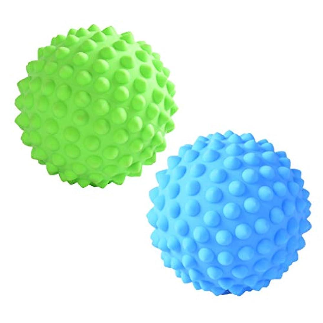 サイズずらす現像マッサージローラーボール 指圧ボール PVC トリガーポイント 疲れ解消ボール ヨガ 疲労軽減 2個