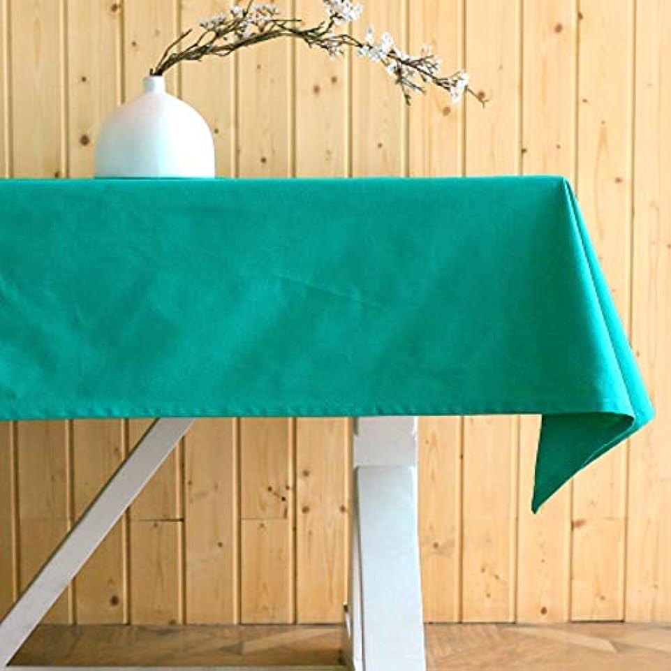 ずらす体手書き単色のテーブルクロス,厚い 綿 長方形テーブルクロス洗濯可能 食事用防塵テーブルカバー コーヒー ビュッフェ テーブル-ライトグリーン 130x160cm
