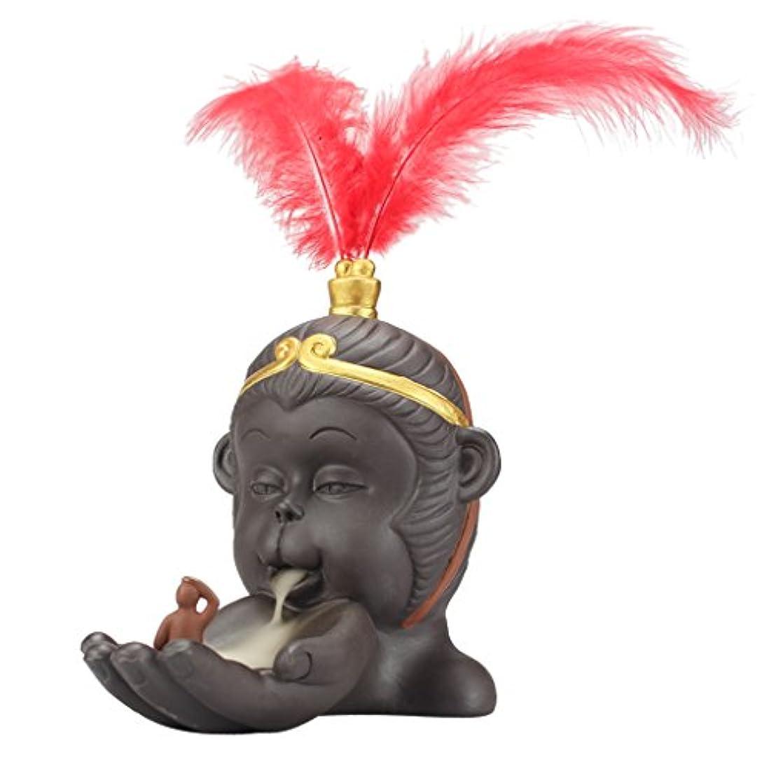 報奨金比較的帰するPerfk 仏教 香炉 バーナーホルダー 小型 逆流コーン 香バーナー 持ち運び 容易 全2色 - 赤
