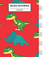 """Music Notebook Wide Staff: DINOSAUR T-REX TYRANNOSAURUS TRICERATOPS JAM SCENE/Blank Music Sheet Notebook,Staff Paper,Music Manuscript Paper,6 Large Staves per page,8.5""""x11"""",100 Pages,For Boys,Girls, Kids, Beginners."""