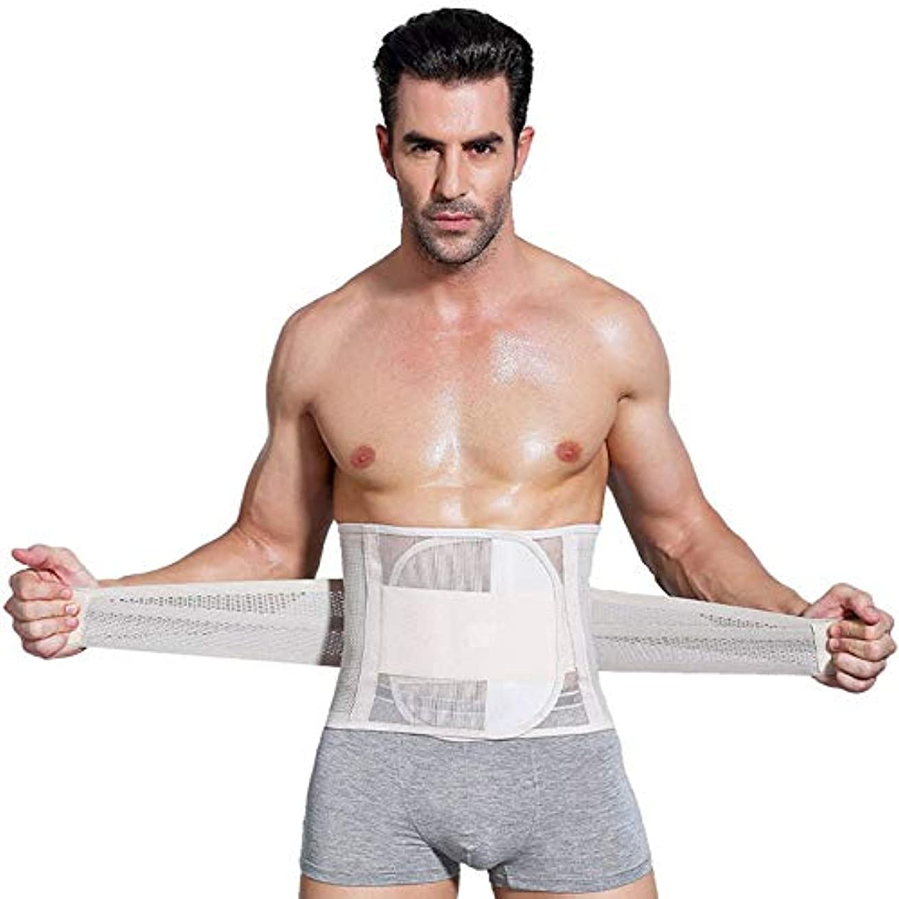 捧げる気になる印刷する男性ボディシェイパーコルセット腹部おなかコントロールウエストトレーナーニッパー脂肪燃焼ガードル痩身腹ベルト用男性 - 肌色XL