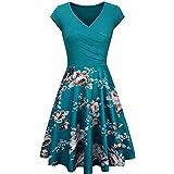 LONGYING Women's Casual Floral Printed Patchwork Vintage Cross V-Neck Short Sleeves Dress Elegant Flared Midi Dress Party Swi