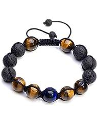 crystaltears Adjustable Tiger Eye & Calm Lava Stone Diffuserブレスレット – 瞑想、接地自己自信、アロマセラピー、ヒーリング、エッセンシャルオイル、