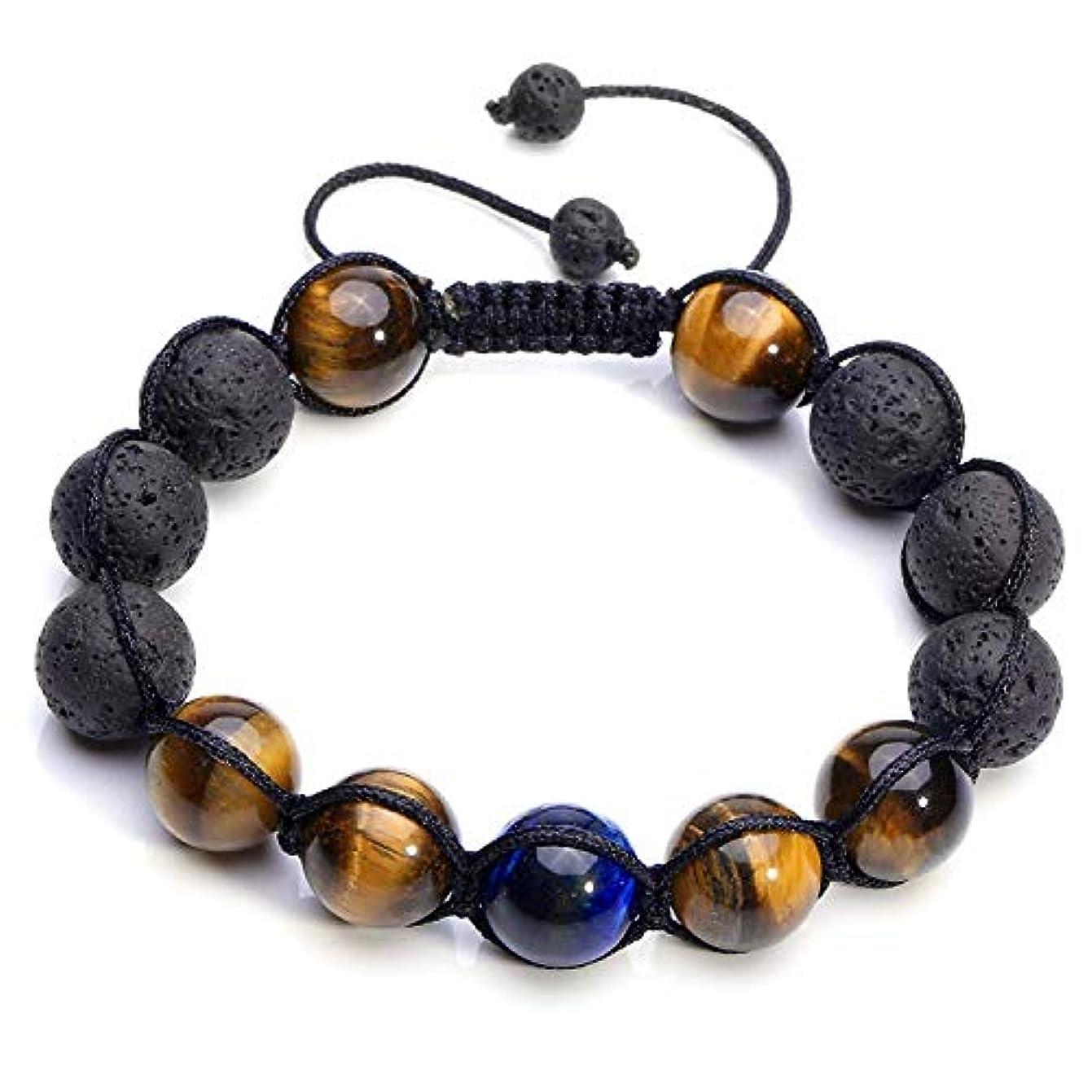 瞑想レクリエーションガレージcrystaltears Adjustable Tiger Eye & Calm Lava Stone Diffuserブレスレット – 瞑想、接地自己自信、アロマセラピー、ヒーリング、エッセンシャルオイル、