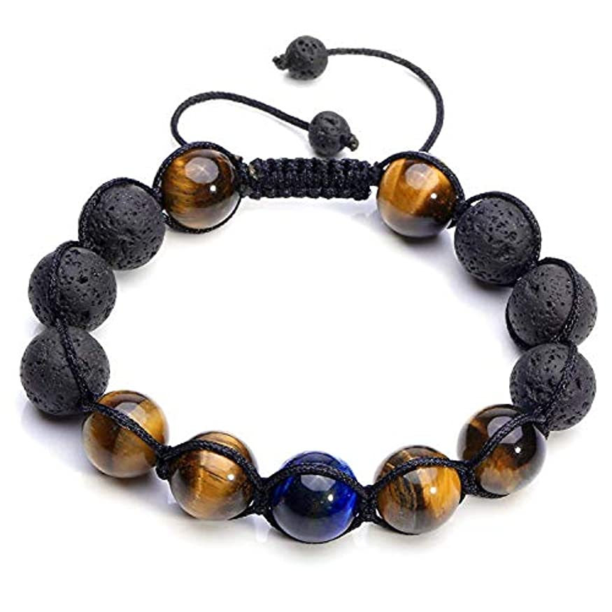 値する家事ペレットcrystaltears Adjustable Tiger Eye & Calm Lava Stone Diffuserブレスレット – 瞑想、接地自己自信、アロマセラピー、ヒーリング、エッセンシャルオイル、