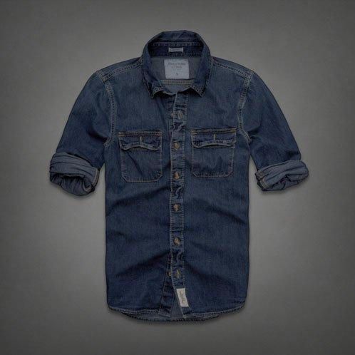アバクロ Abercrombie&Fitch 正規品 メンズ デニムシャツ Denim Shirt Dark Wash NAVY 並行輸入 (コード:4055910206)