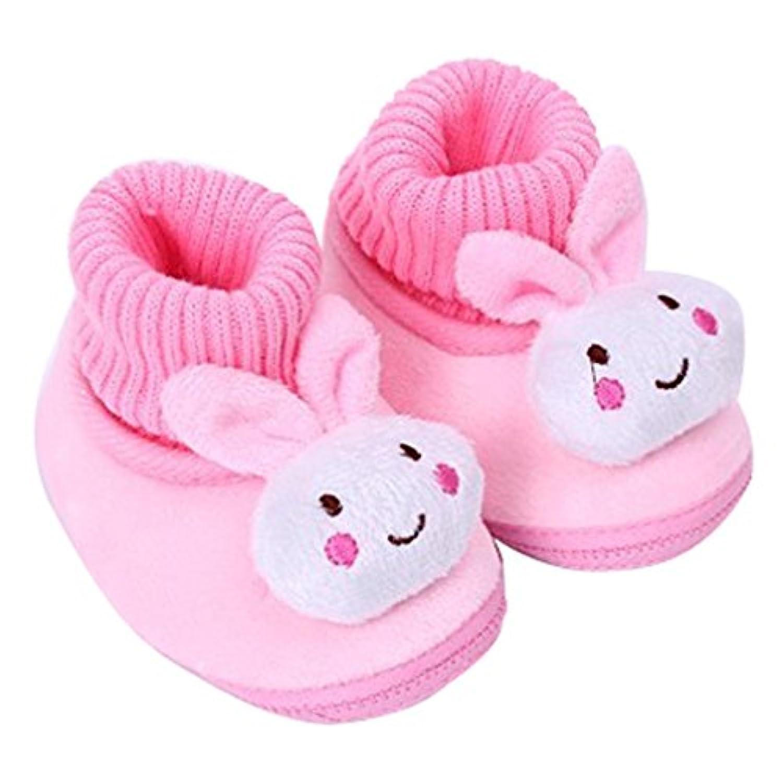 Tonsee ベビーシューズ 可愛い ブーツ 歩行サポート 防寒対策 赤ちゃん ウォーキングシューズ (11cm, ピンク)