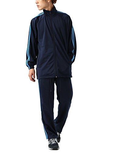[REPIDO (リピード)] ジャージ セットアップ メンズ 上下セット 2ライン 長袖 スポーツ ネイビー×ブルー Lサイズ