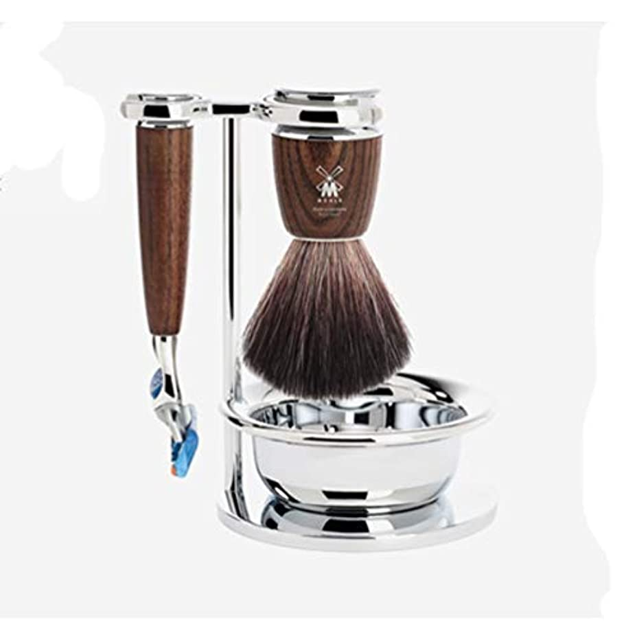 現代のメンタル船Muller Rytmo Shaving Set ミューレ シェービングセットFusion Gilletteの互換性 (かみそり+剃るスタンド+剃毛ボール+シェービングブラシ)(並行輸入品)