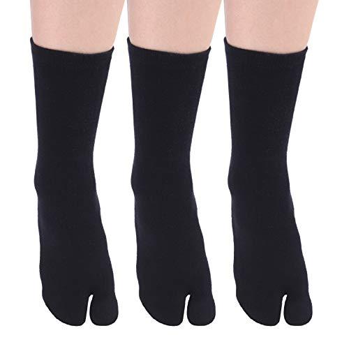 SOXBANG 無地 足袋ソックス 男女兼用 フリーサイズ 綿 抗菌防臭 2本指靴下 3足セット (黒 3組)