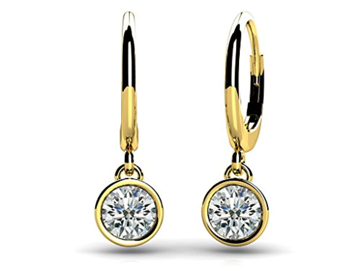 流出手書き好きSilvercz Jewels 0.24 カラット ラウンドカット D/VVS1 ダイアモンドベゼルセット ドロップピアス 14K イエローゴールド