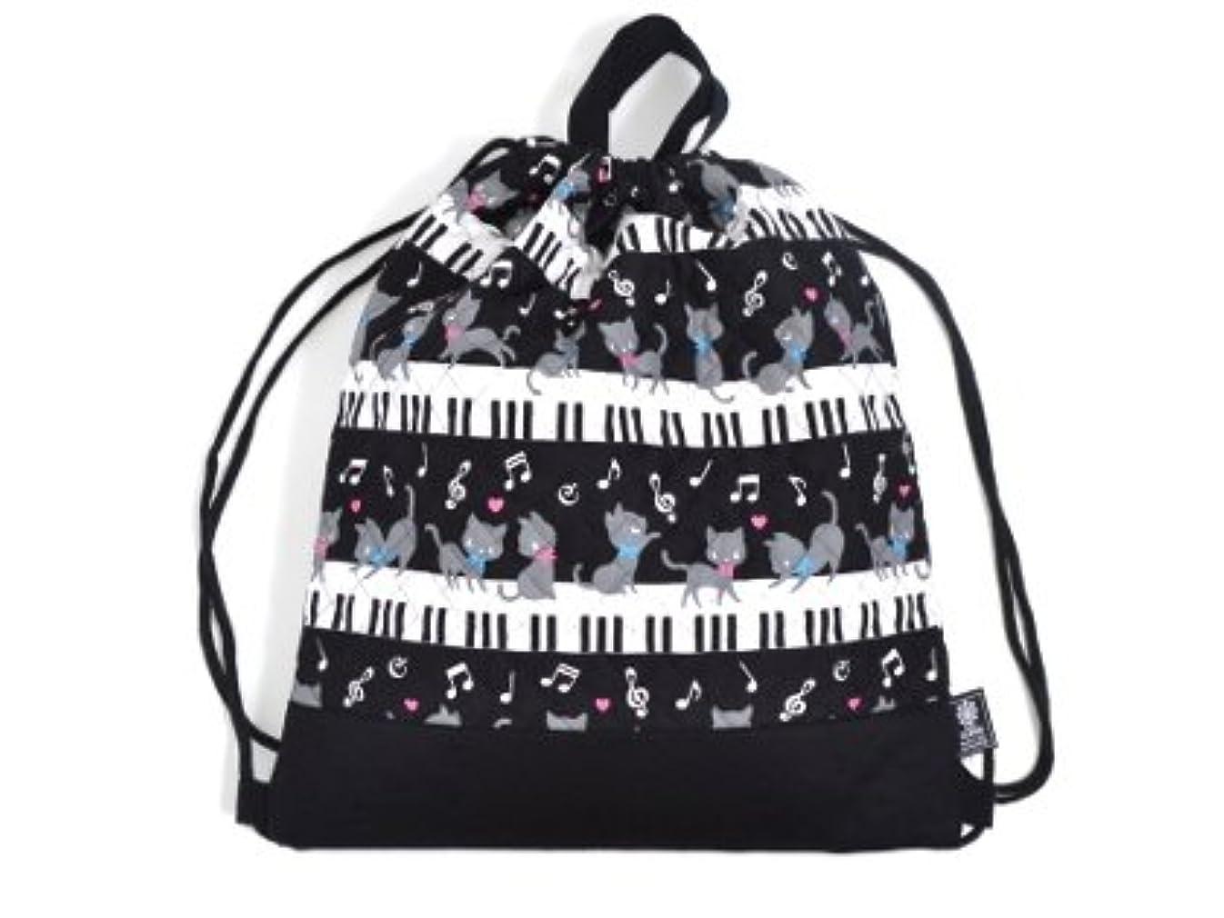 キネマティクス神メルボルンナップサック 巾着 バッグ ピアノの上で踊る黒猫ワルツ(ブラック) N0431300