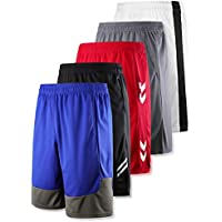 Liberty Imports 5 Pack Youth Boys Active Basketball Shorts Quick Dry Mesh with Pockets