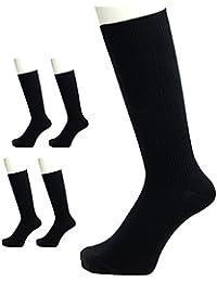 日本製靴下 綿100% オーガニックコットン リブ編み 黒 5足組み 24-27cm