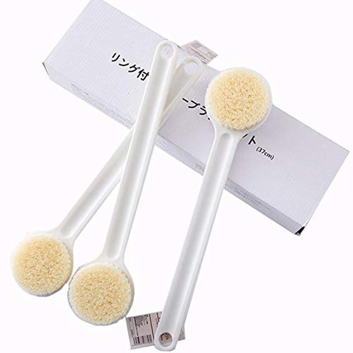 なだめる投資ユーモアボディブラシ 背中 柔い ナイロン繊維 ンチスリップロングハンドル リング付シャワーブラシ (ホワイト) (1個)