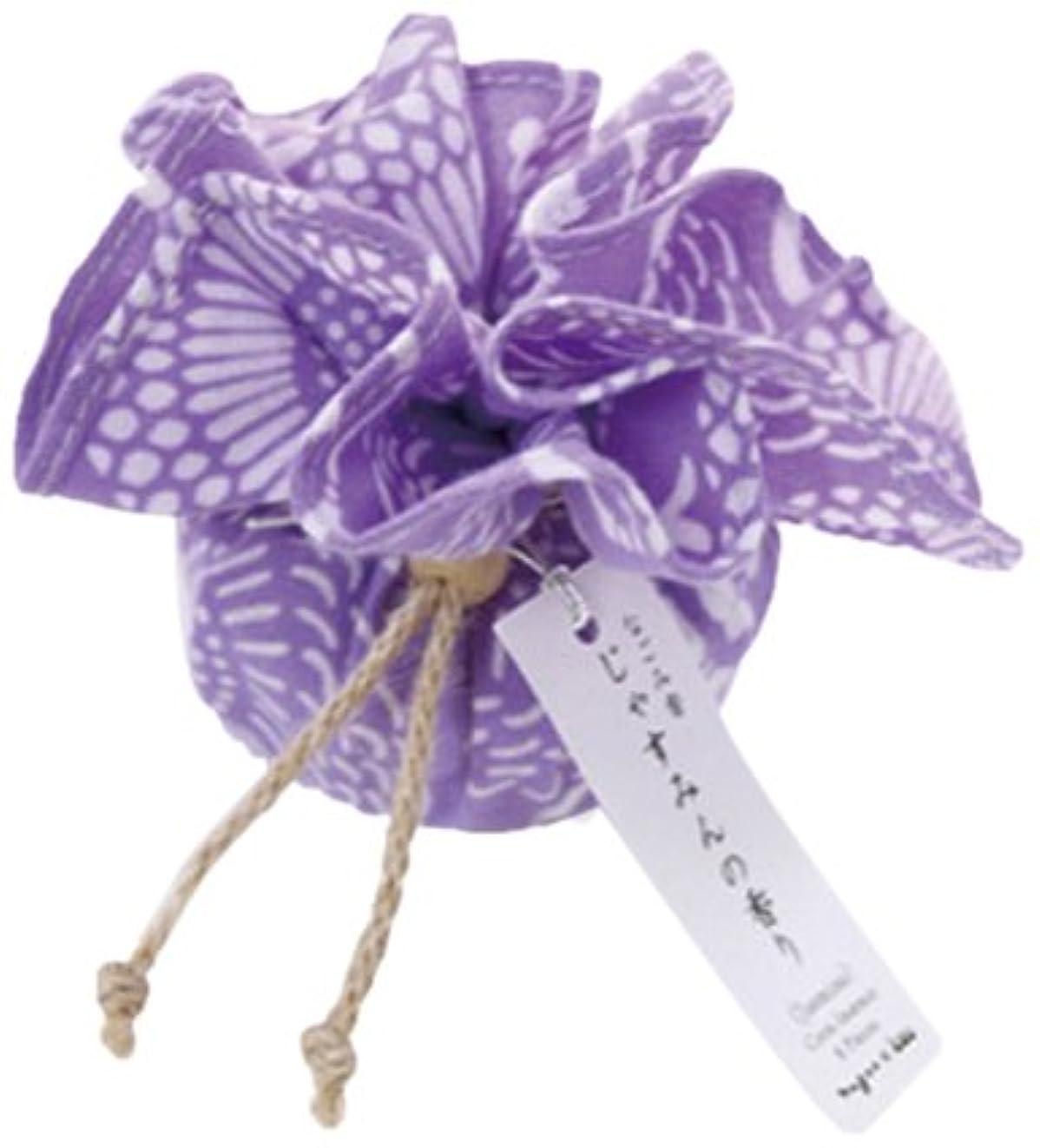 入口篭クアッガなごみ香 手拭巾着包 お香(コーンインセンス) じゃすみんの香り nugoo×kou 菊唐草(薄紫)