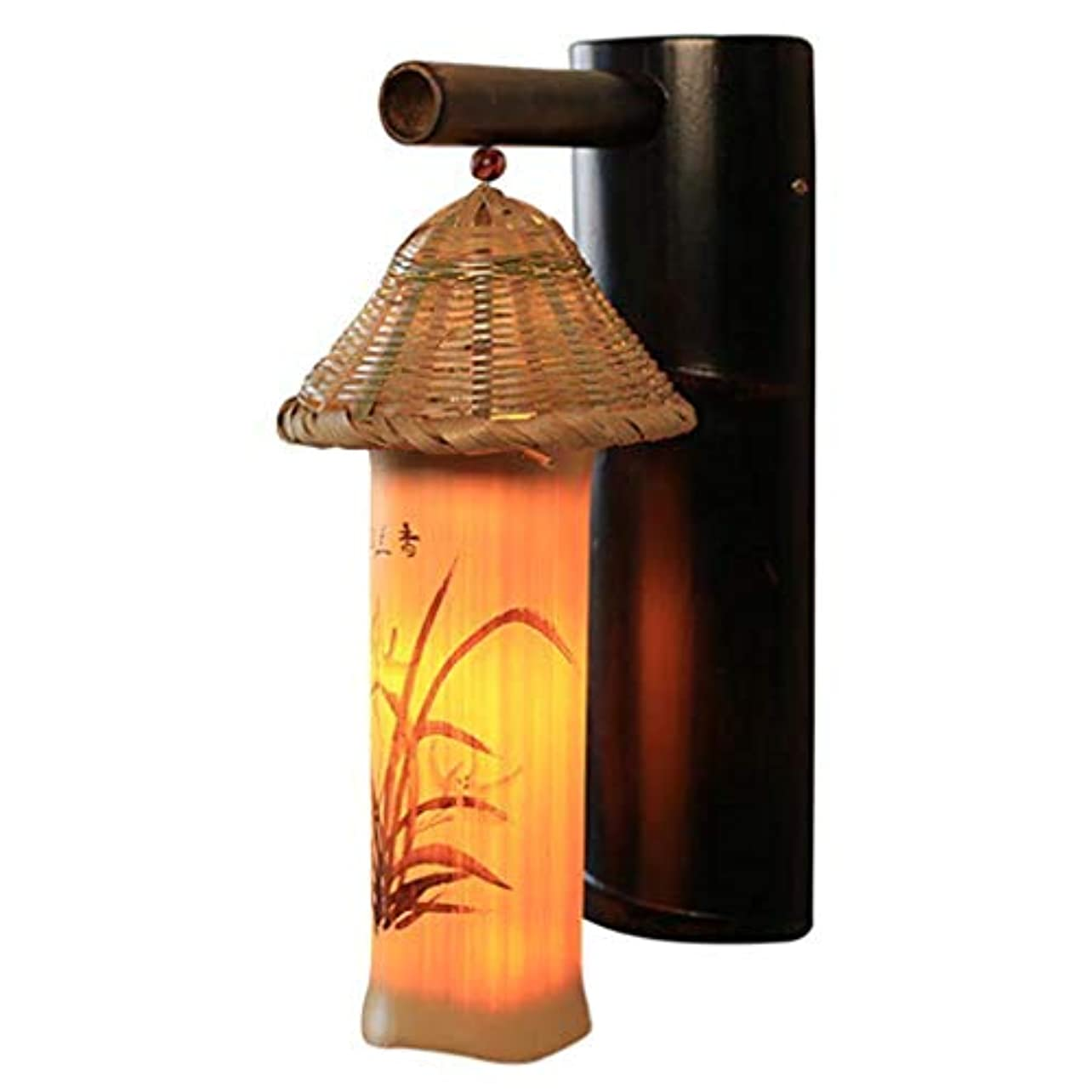 曇った酔って変動する壁面ライト, 壁照明中国のシンプルな竹レストランホテル廊下通路ランプ研究竹夜間照明壁ランプ(サイズ:41x25cm) AI LI WEI