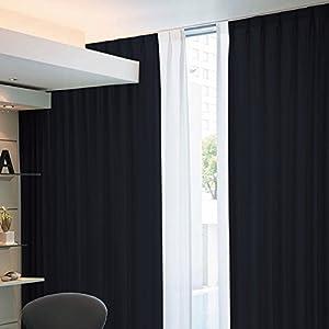 窓美人 アラカルト 1級遮光カーテン 2枚組 幅100×丈178cm ピュアブラック 断熱・遮熱・防音 高級フルダル生地