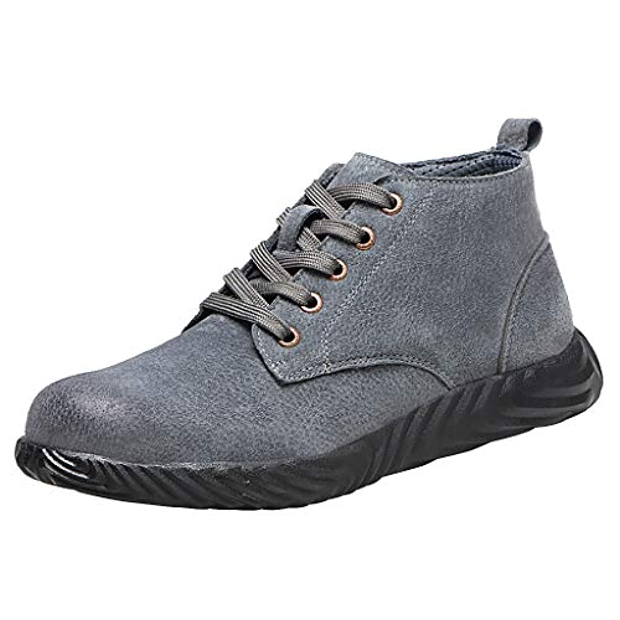 同化する平方大胆不敵[Sucute] 男性と女性 の通気性 の布鋼包頭 牛肉の腱底 抗スマッシングスタブ 保護靴 安全作業靴 保護靴 高い助け ファッショントレンド 海沿いの旅行に適しています (36-46)