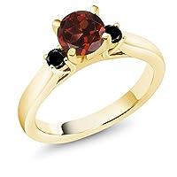 Gem Stone King 1.24カラット 天然 ガーネット 天然ブラックダイヤモンド シルバー925 イエローゴールドコーティング 指輪 リング