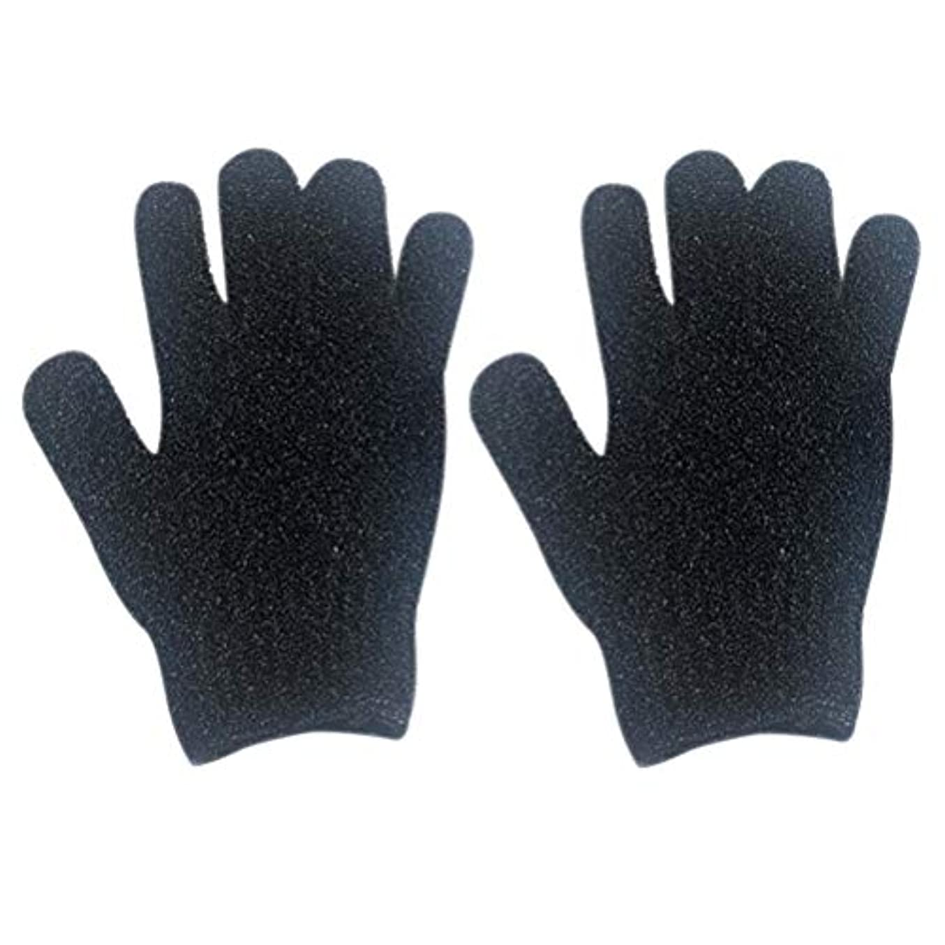 忘れっぽい腐敗望ましいHealifty エクスフォリエイティンググローブラビング手袋エクスフォリエーター手袋入浴スパ2本
