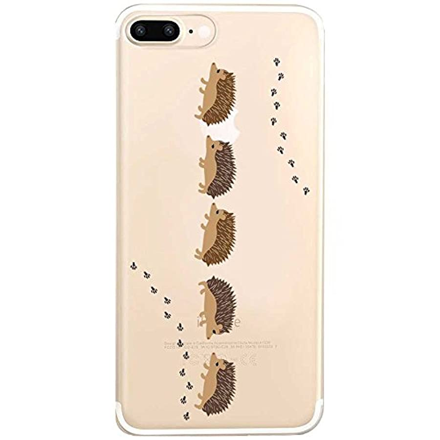 歯科医フリル麺iPhone7 plus ケース ストラップホール付 クリア ハード ハリネズミのお散歩 888-59165