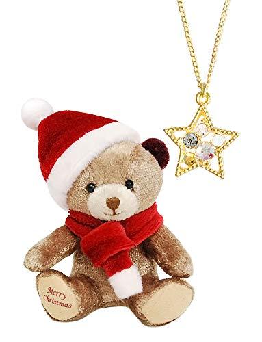 スターネックレス スワロフスキー&サンタテディべア 2018年クリスマス SWAROVSKI ミニテディのクリスマス ほほえむジュエリーギフト プティルウ製