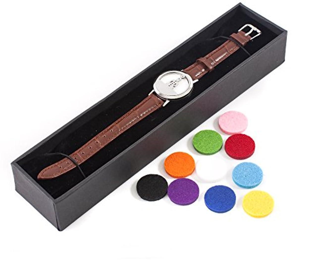 メンタル順応性のある船上Mystic Moments | Seven Chakras | Aromatherapy Oil Diffuser Bracelet with Adjustable Brown Leather Strap