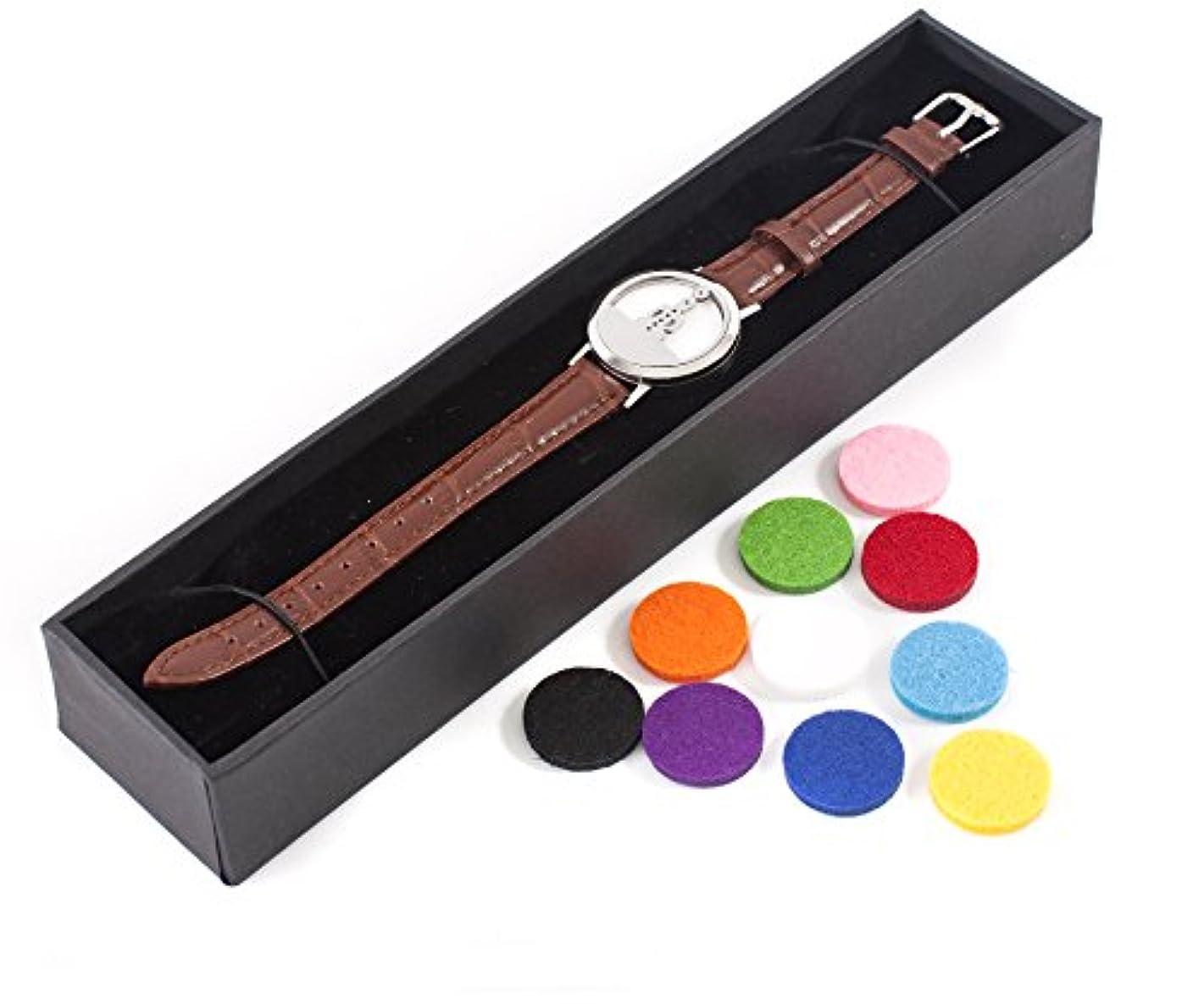 火曜日ウェブと組むMystic Moments | Seven Chakras | Aromatherapy Oil Diffuser Bracelet with Adjustable Brown Leather Strap