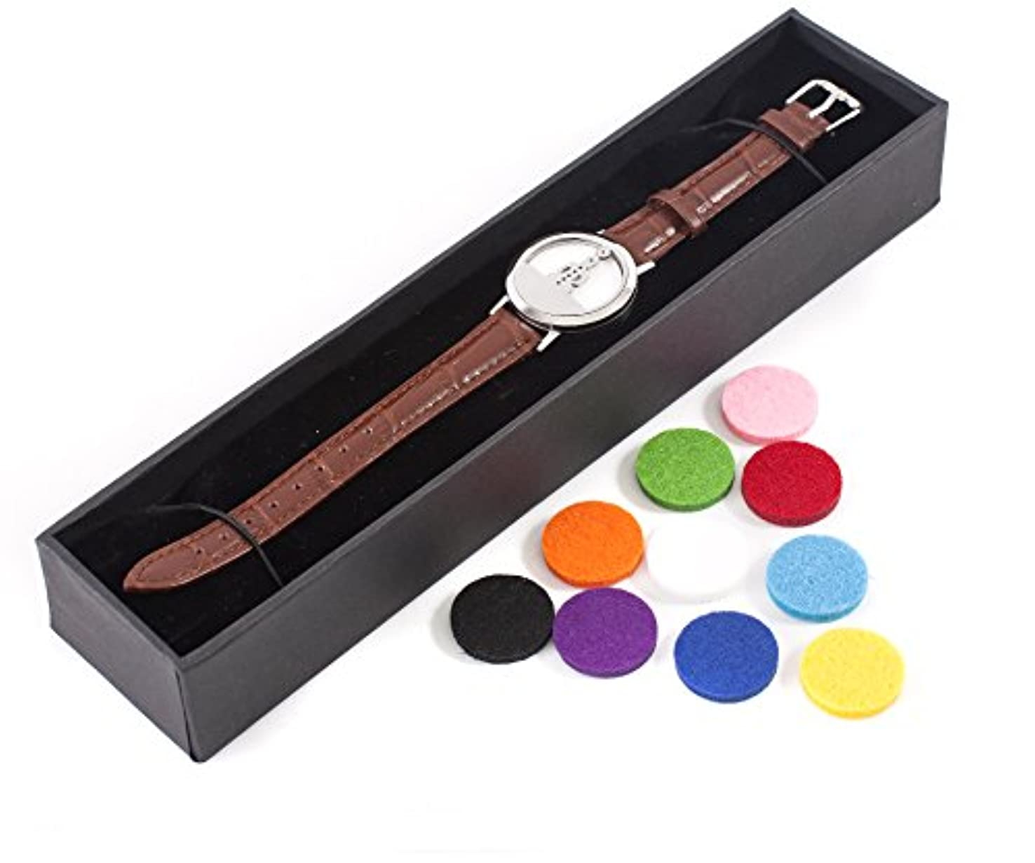 パスタ大きさ聖職者Mystic Moments | Seven Chakras | Aromatherapy Oil Diffuser Bracelet with Adjustable Brown Leather Strap