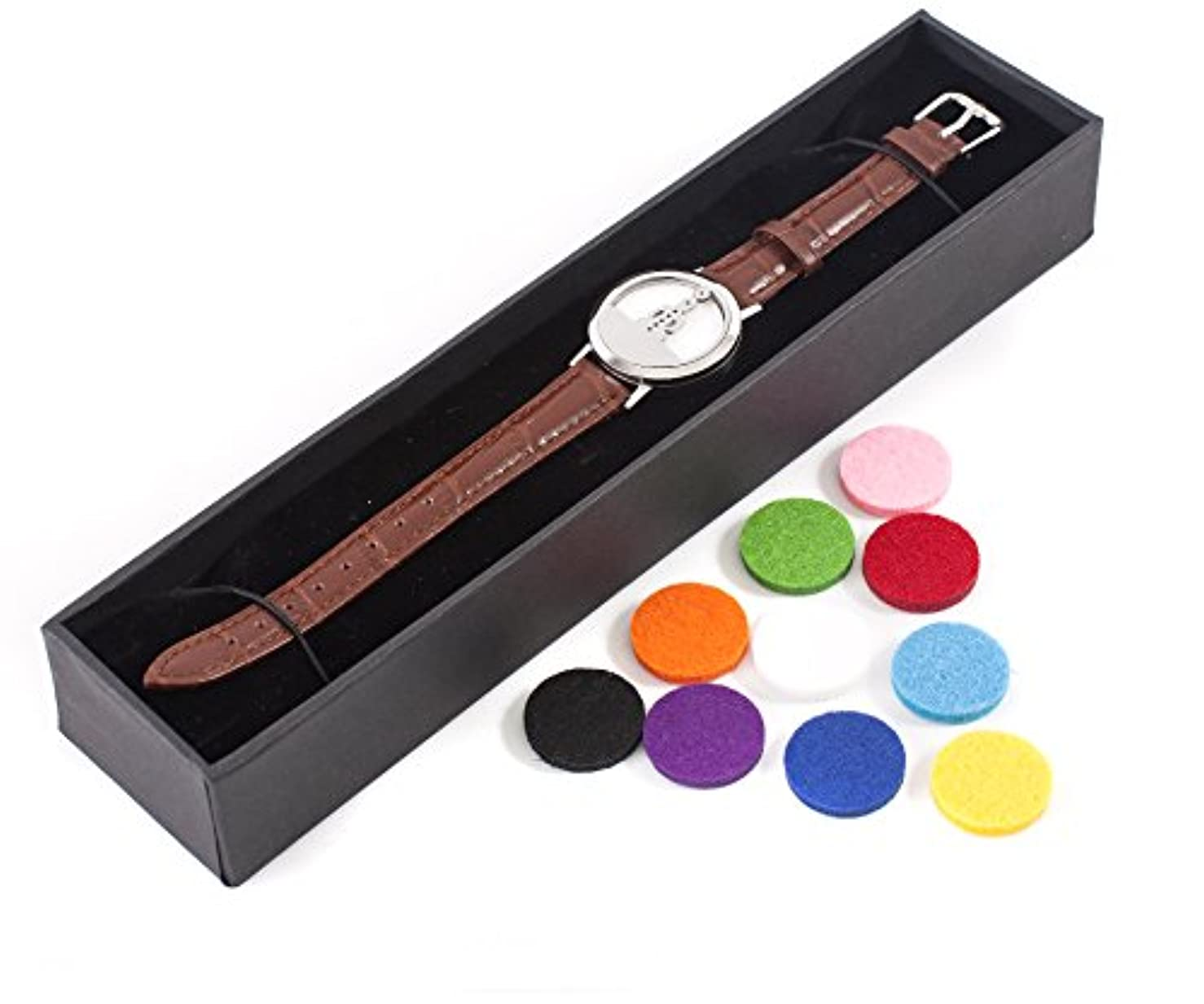 毎年過去チャームMystic Moments | Seven Chakras | Aromatherapy Oil Diffuser Bracelet with Adjustable Brown Leather Strap