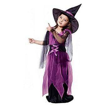 Aliciga ドレス + 帽子 2点セット 子供服 女の子 ロングスカート ハロウィーン仮装 レースアップ 巫女 魔女 コスプレ衣装 かわいい パーティー 公演 夜店 おもしろい 変装 薄手 おもしろい ワンピース (130, パープル)