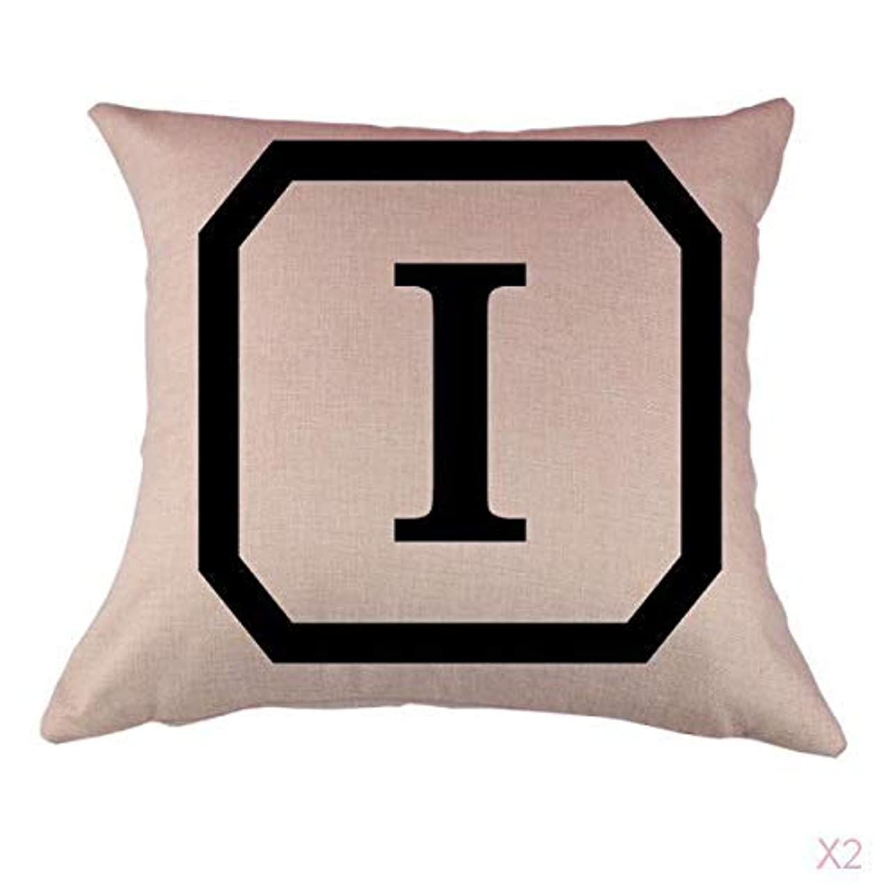 推定好きである寂しいコットンリネンスロー枕カバークッションカバー家の装飾頭文字のI