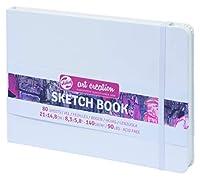 ターレンス アートクリエーションスケッチブック 絵を描く手帳 21×15cm 白 厚み140g/㎡ 細目 中性 80枚綴じ T9314-105M
