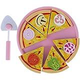 B Baosity 磁気 切れるピザ キッチン 木製 プレイセット 食べ物 ふり遊び おままごと おもちゃ