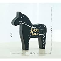 幼児期のゲーム アートパターン木製の馬の装飾レストラン装飾装飾(黒、S)