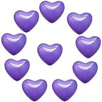 Lovoski ラテックス 風船 ラブハート型 結婚式 誕生日 クリスマスパーティー 装飾 10個入り 全6色 - 紫