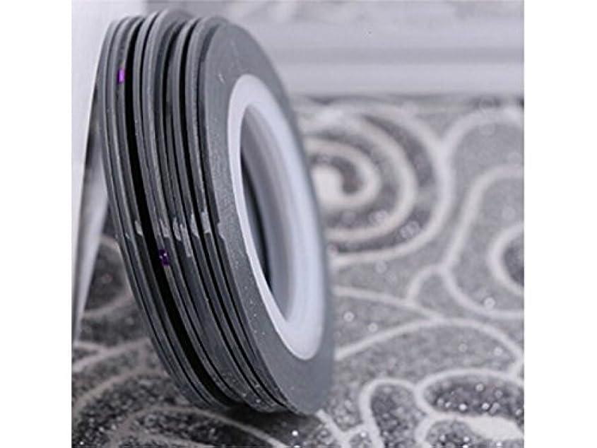 タイピスト流用するコールOsize ネイルアートキラキラゴールドシルバーストリップラインリボンストライプ装飾ツールネイルステッカーストライピングテープラインネイルアートデコレーション(グレー)