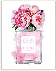The Stupell Home Décor Collection Glam Perfume Bottle V2 Flower Silver Pink Peony Wood Plaque Wall Art, 10 x 15 Inches